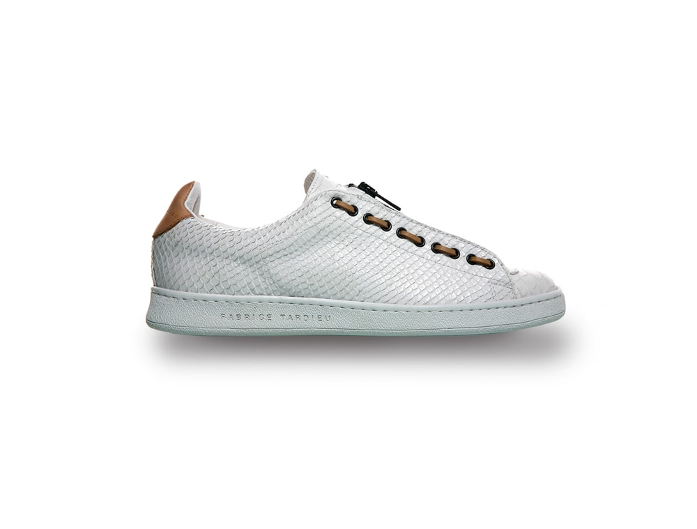 White leather fashion sneakers for men