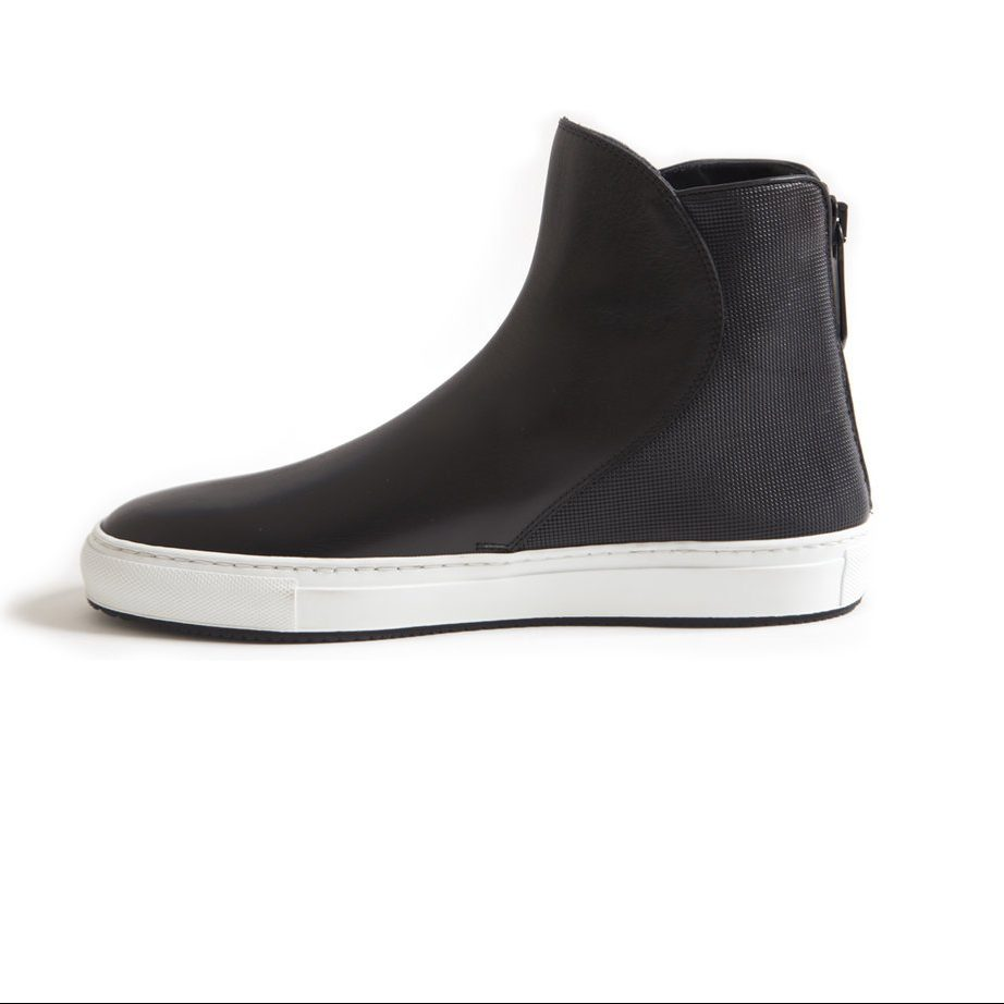 Black leather hi top shoes for men