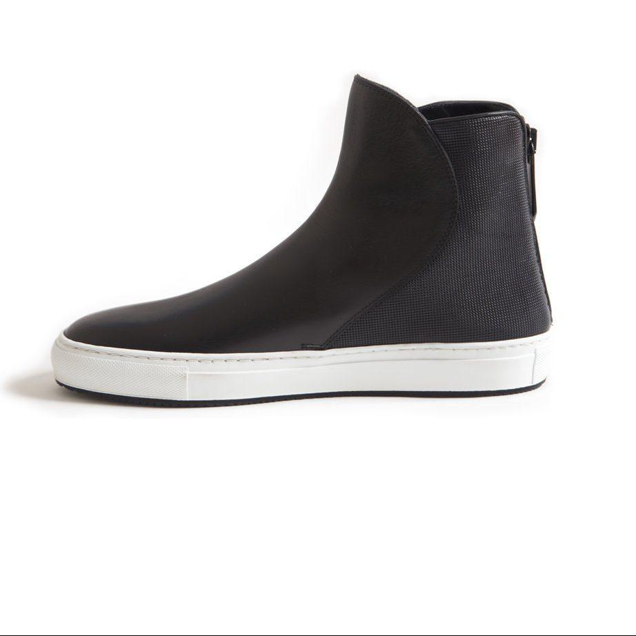 Black leather hi top shoes for men