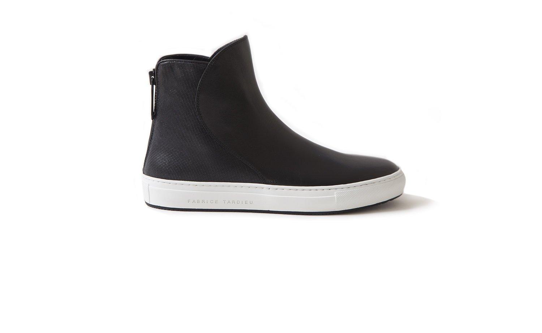 hi top black leather shoes