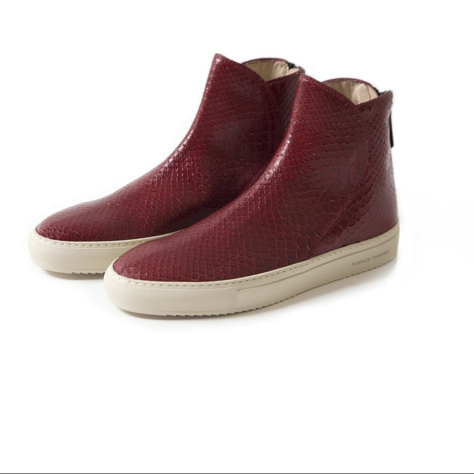 hadncrafted red hi top shoes for men