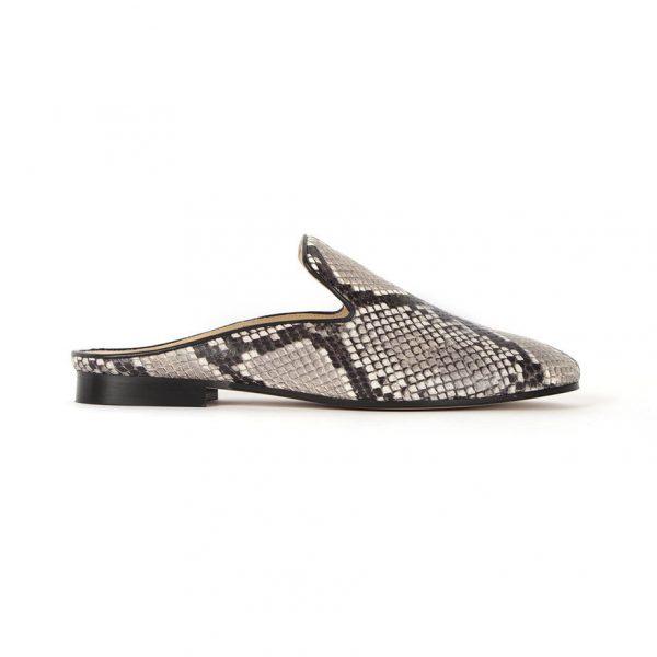 Beige python slip shoe