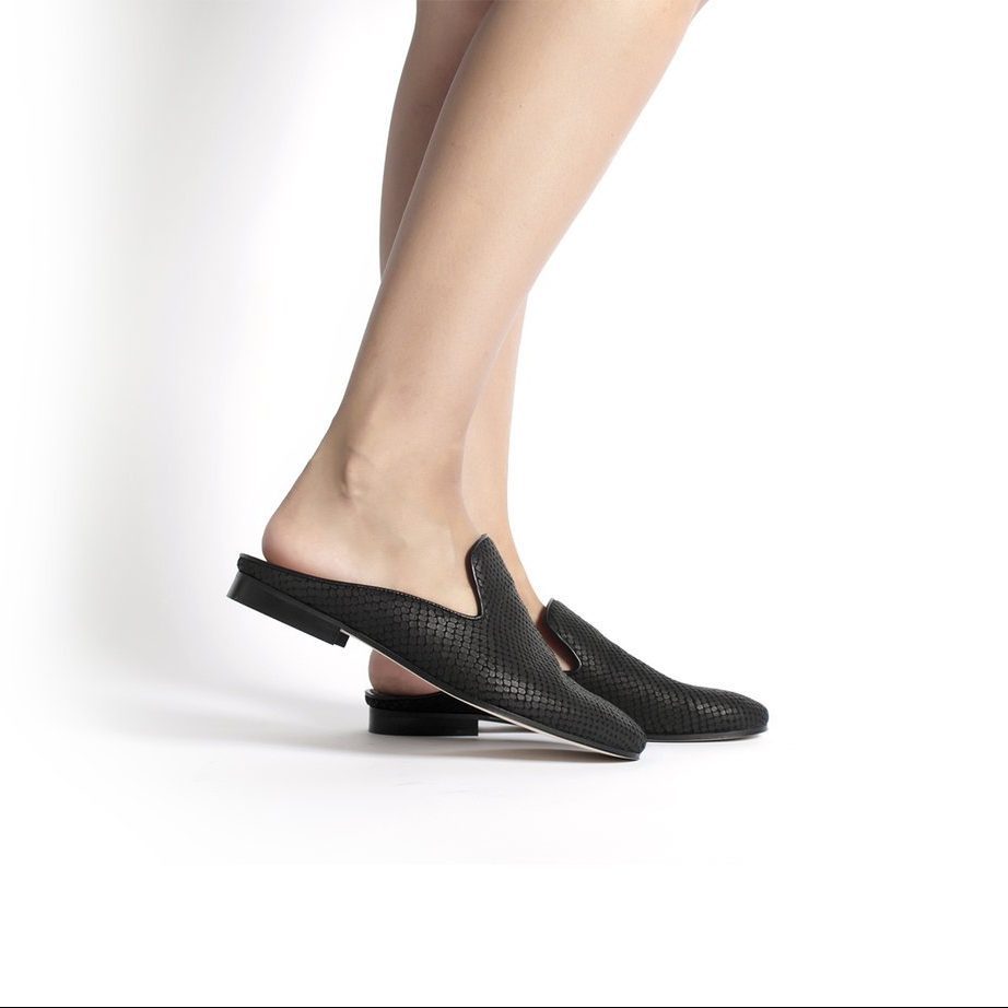 black leather handcrafted slip shoes