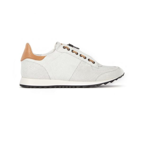Fashion white leather runner shoes