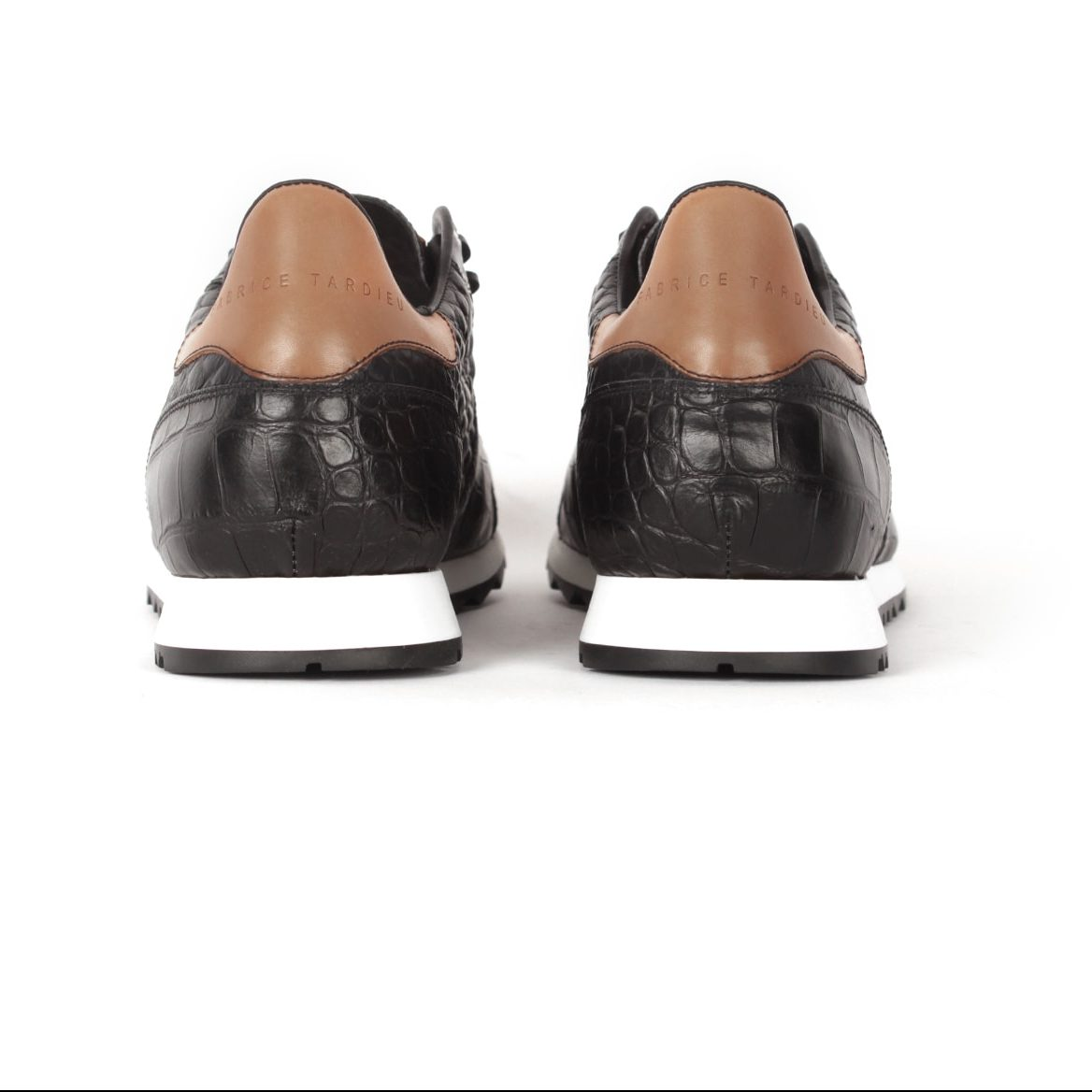 Handcrafted black leather runners for men