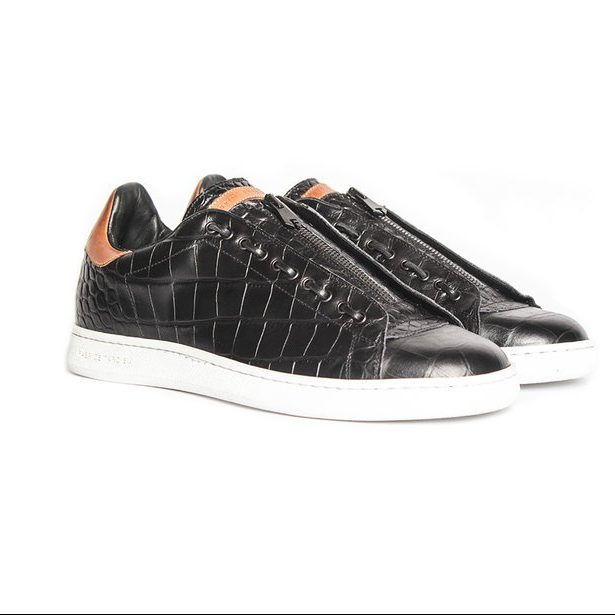 Black leather fashion low-top sneakers for men