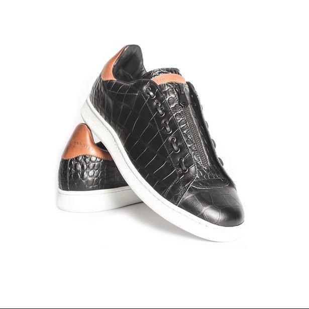 Black leather fashion sneakers