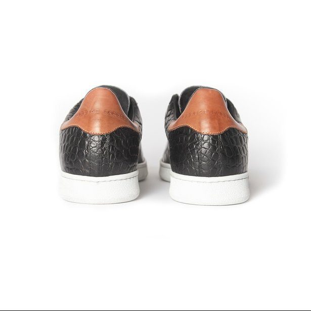handcrafted black leather sneakers for men